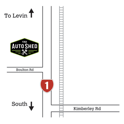 Location map to The Auto Shed, Levin